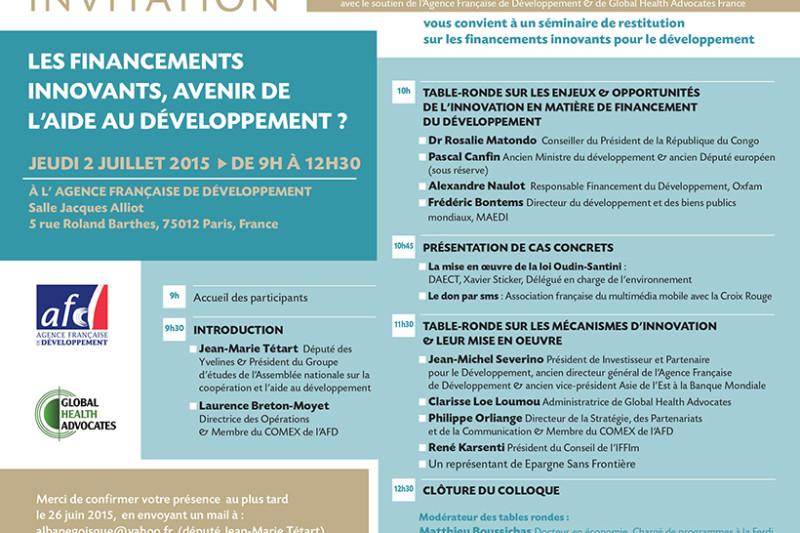 Colloque 2 juillet à l'AFD – «Les financements innovants, avenir de l'aide au développement?»