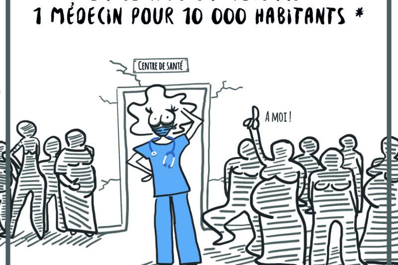 En dessin : En Afrique de l'Ouest, on compte en moyenne 1 médecin pour 10 000 habitants